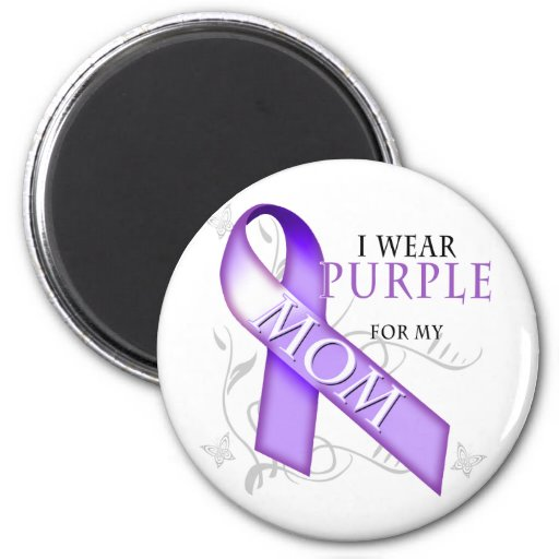 Llevo la púrpura para mi mamá imán de nevera