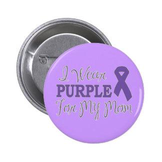 Llevo la púrpura para mi mamá (la cinta púrpura) pin redondo de 2 pulgadas