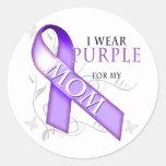 Llevo la púrpura para mi mamá pegatina redonda