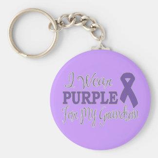 Llevo la púrpura para mi nieto (la cinta púrpura) llavero redondo tipo pin