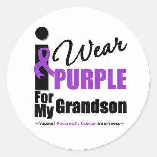 Llevo la púrpura para mi nieto pegatina redonda
