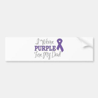 Llevo la púrpura para mi papá (la cinta púrpura) pegatina para auto