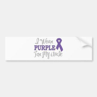Llevo la púrpura para mi tío (la cinta púrpura) pegatina para auto