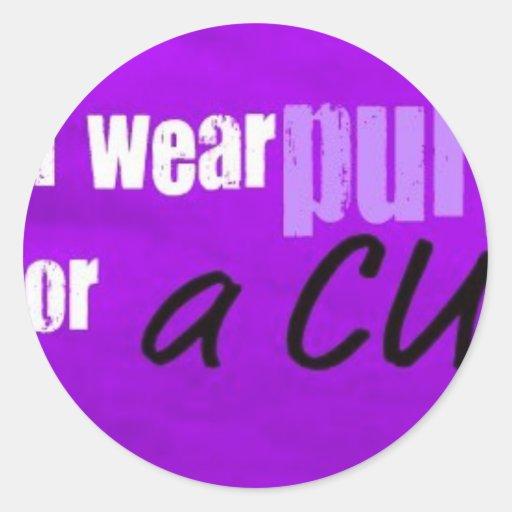 llevo la púrpura para una curación pegatina redonda