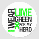 Llevo la verde lima para mi héroe - linfoma pegatina