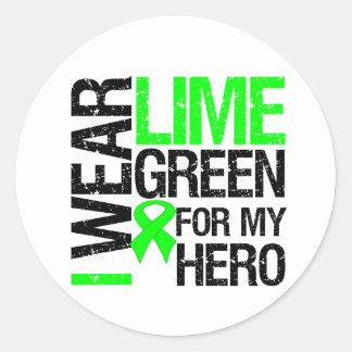 Llevo la verde lima para mi héroe - linfoma pegatina redonda