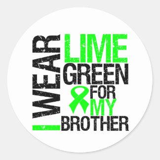 Llevo la verde lima para mi linfoma de Brother Pegatina Redonda