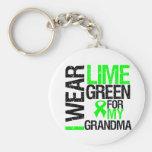Llevo la verde lima para mi linfoma de la abuela llavero
