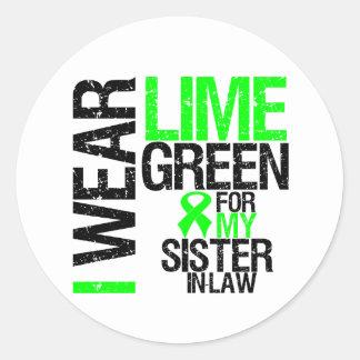 Llevo la verde lima para mi linfoma de la cuñada pegatina redonda
