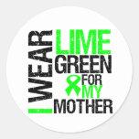 Llevo la verde lima para mi linfoma de la madre pegatinas redondas