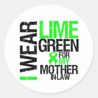 Llevo la verde lima para mi linfoma de la suegra pegatina redonda