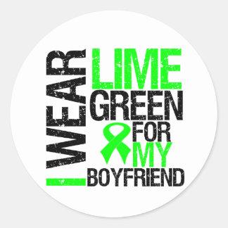 Llevo la verde lima para mi linfoma del novio pegatina redonda