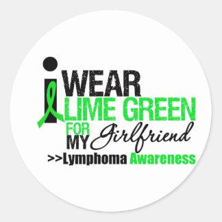 Llevo la verde lima para mi novia pegatina redonda