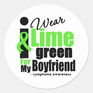 Llevo la verde lima para mi novio pegatina redonda