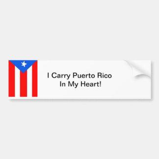 ¡Llevo Puerto Rico en mi corazón! Pegatina Para Auto