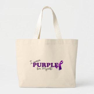 Llevo púrpura bolsa lienzo