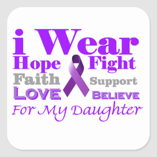 Llevo púrpura - mi hija tiene epilepsia pegatina cuadrada