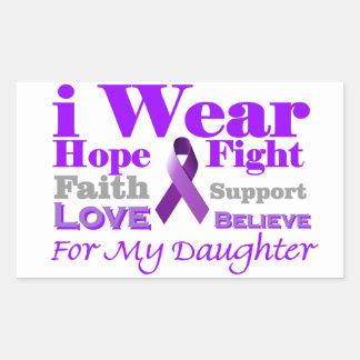 Llevo púrpura - mi hija tiene epilepsia pegatina rectangular