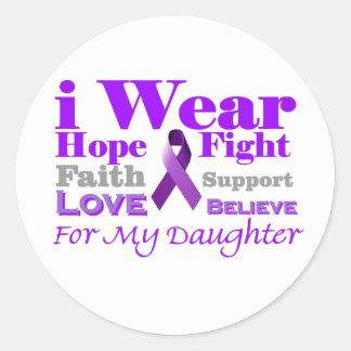 Llevo púrpura - mi hija tiene epilepsia pegatina redonda