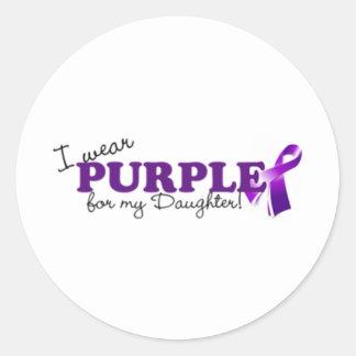 Llevo púrpura pegatina redonda