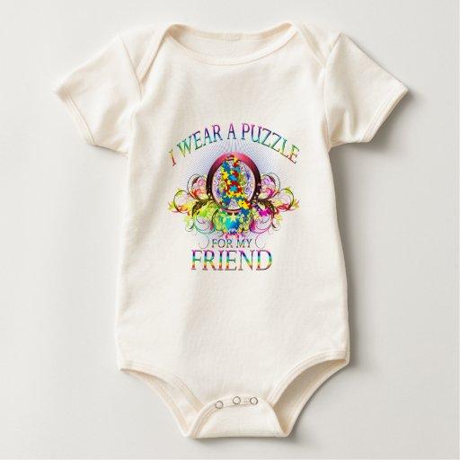 Llevo un rompecabezas para mi amigo (floral) mamelucos de bebé