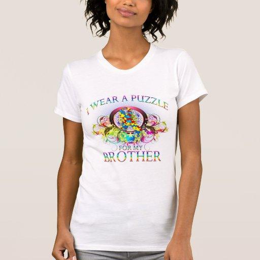 Llevo un rompecabezas para mi Brother (floral) Camisetas