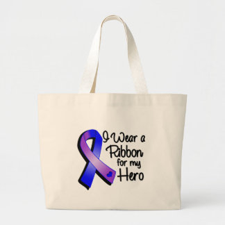 Llevo una cinta azul y púrpura para mi héroe bolsa tela grande