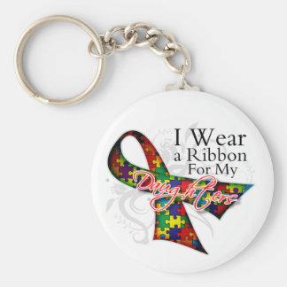 Llevo una cinta para mi conciencia del autismo de  llavero redondo tipo pin
