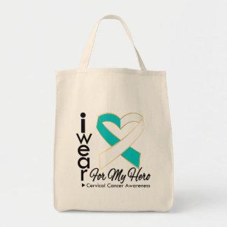Llevo una cinta para mi héroe - cáncer de cuello d bolsa tela para la compra