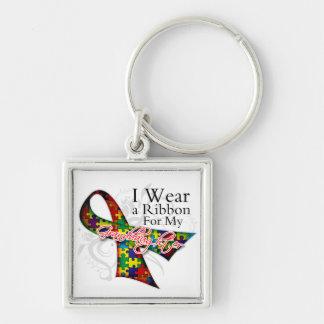 Llevo una cinta para mi nieta - autismo Awar Llavero Cuadrado Plateado