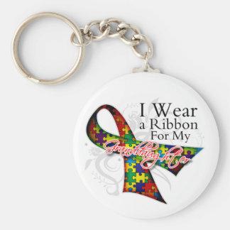Llevo una cinta para mi nieta - autismo Awar Llavero Redondo Tipo Pin