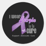 Llevo una cinta púrpura para la curación pegatina redonda