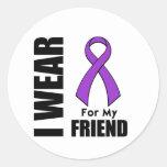 Llevo una cinta púrpura para mi amigo pegatinas redondas