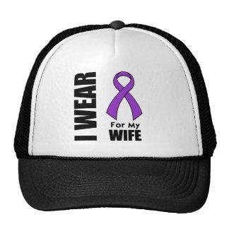 Llevo una cinta púrpura para mi esposa gorras