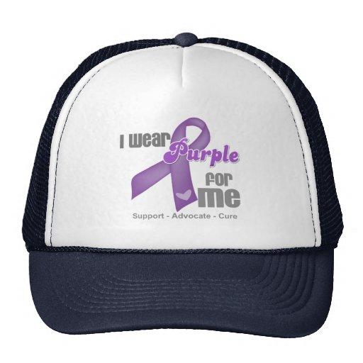 Llevo una cinta púrpura para mí gorro de camionero