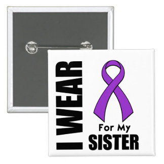 Llevo una cinta púrpura para mi hermana pin cuadrada 5 cm