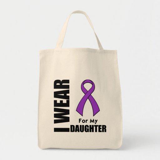 Llevo una cinta púrpura para mi hija bolsa