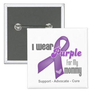 Llevo una cinta púrpura para mi mamá pin cuadrada 5 cm