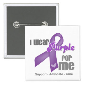 Llevo una cinta púrpura para mí pin cuadrada 5 cm