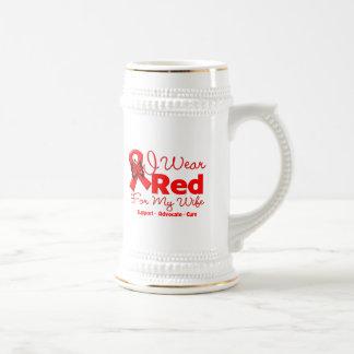 Llevo una cinta roja para mi esposa tazas