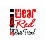 Llevo una cinta roja para mi mejor amigo postales