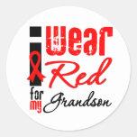 Llevo una cinta roja para mi nieto pegatina redonda