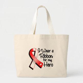 Llevo una cinta roja y blanca para mi héroe bolsa tela grande