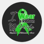 Llevo una cinta verde para mi esposa etiquetas redondas