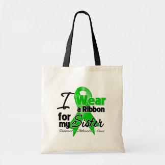 Llevo una cinta verde para mi hermana bolsa de mano
