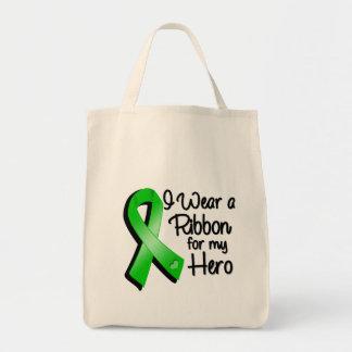 Llevo una cinta verde para mi héroe bolsa tela para la compra