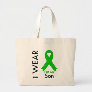 Llevo una cinta verde para mi hijo bolsa de mano