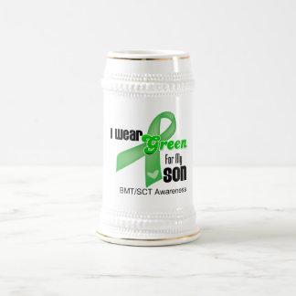 Llevo una cinta verde para mi hijo jarra de cerveza