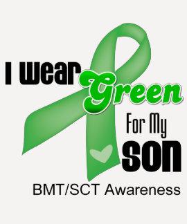 Llevo una cinta verde para mi hijo camiseta