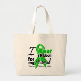 Llevo una cinta verde para mi marido bolsa de tela grande